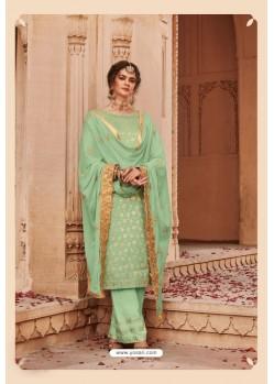 Sea Green Designer Party Wear Banarsi Jacquard Palazzo Salwar Suit