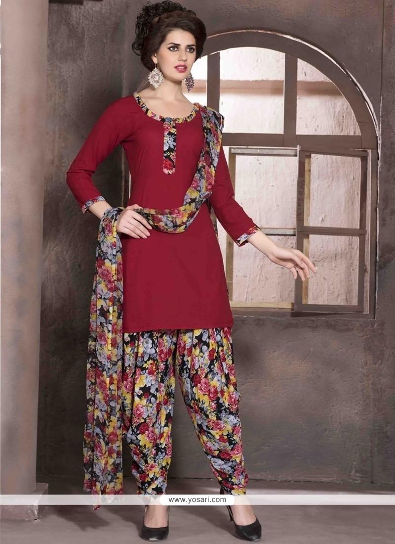 Sunshine Faux Crepe Red Print Work Designer Patiala Salwar Kameez