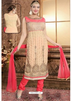 Cream Designer Party Wear Readymade Churidar Salwar Suit