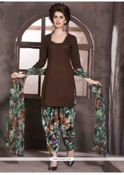 Radiant Brown Print Work Faux Crepe Designer Patiala Salwar Kameez