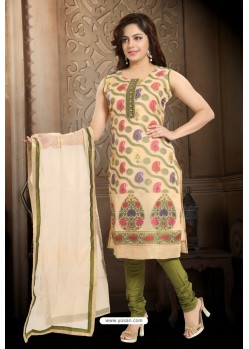 Cream Designer Readymade Churidar Salwar Suit
