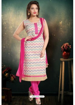 White Designer Readymade Churidar Salwar Suit