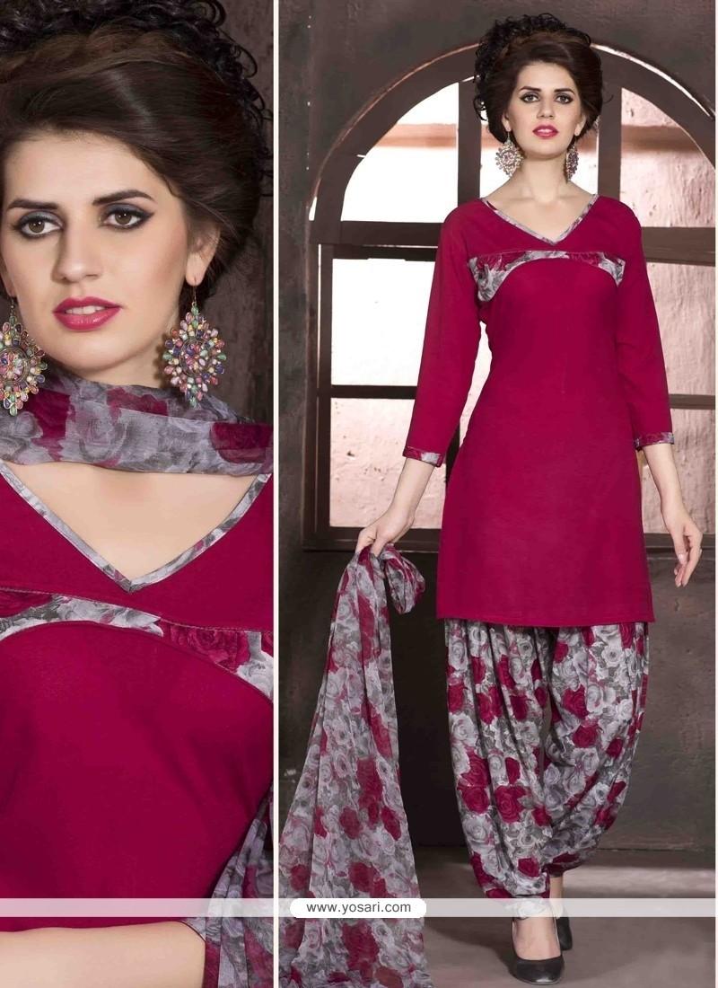 Competent Faux Crepe Print Work Designer Patiala Salwar Kameez