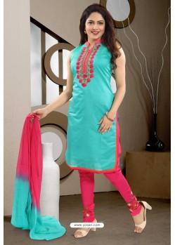 Turquoise Designer Readymade Churidar Salwar Suit