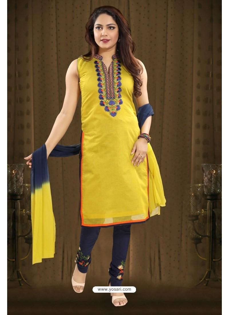 Yellow Designer Readymade Churidar Salwar Suit