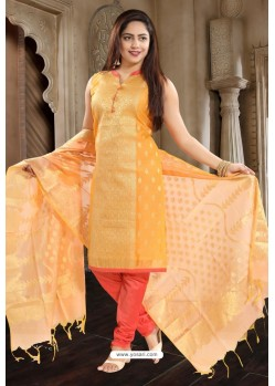 Orange Designer Readymade Churidar Salwar Suit