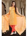 Orange Designer Readymade Churidar Salwar Suit