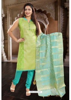 Green Designer Readymade Churidar Salwar Suit