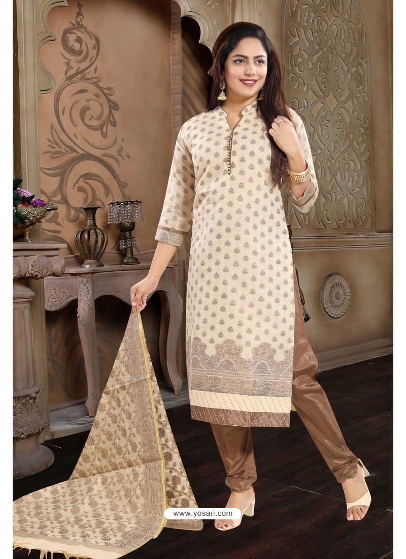 Light Beige Designer Readymade Churidar Salwar Suit