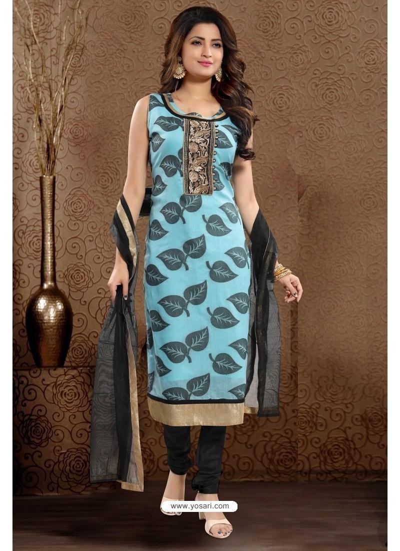 Sky Blue Designer Readymade Churidar Salwar Suit