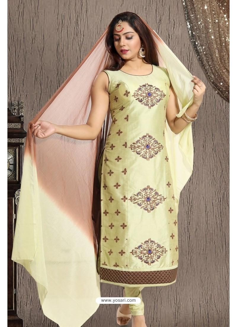 Olive Green Designer Readymade Churidar Salwar Suit