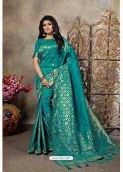 Teal Party Wear Designer Embroidered Banarasi Silk Weaving Sari