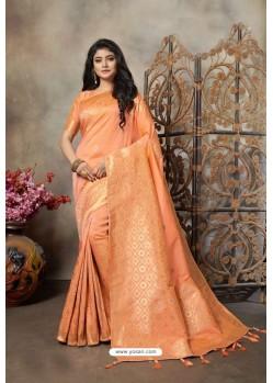 Orange Party Wear Designer Embroidered Banarasi Silk Weaving Sari