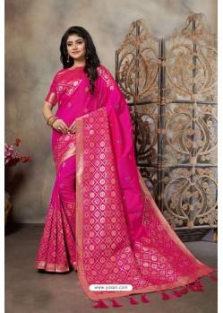 Rani Party Wear Designer Embroidered Banarasi Silk Weaving Sari
