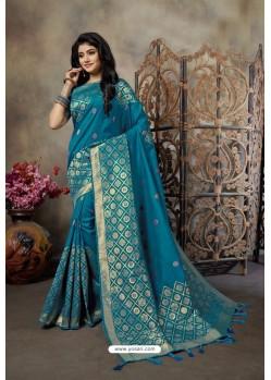 Teal Blue Party Wear Designer Embroidered Banarasi Silk Weaving Sari