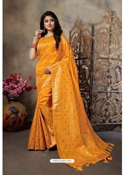 Mustard Party Wear Designer Embroidered Banarasi Silk Weaving Sari
