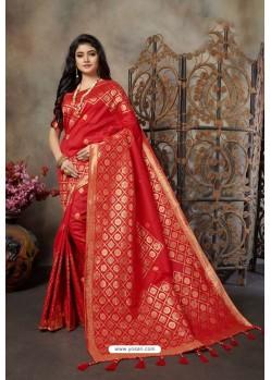 Red Party Wear Designer Embroidered Banarasi Silk Weaving Sari