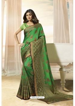 Forest Green Party Wear Designer Embroidered Brasso Silk Weaving Sari