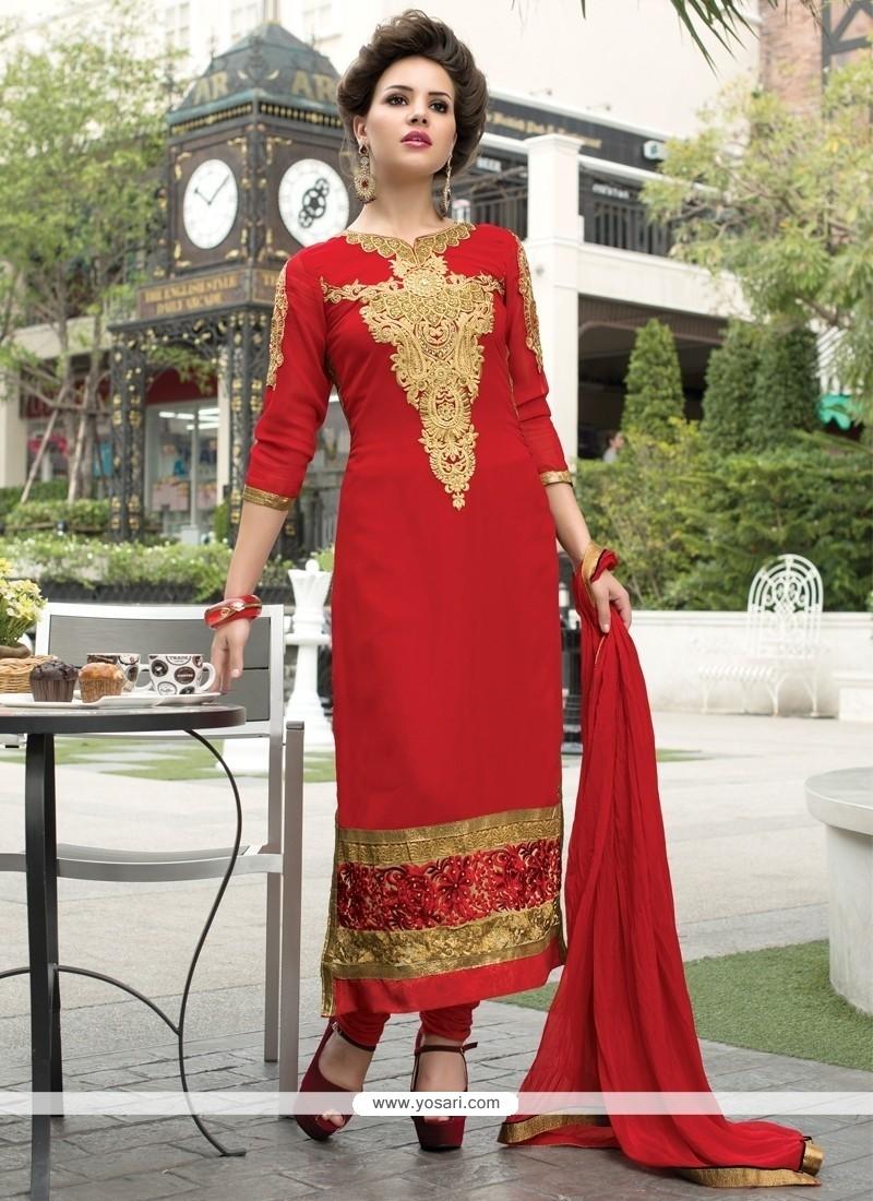 Red Georgette Churidar Salwar Kameez
