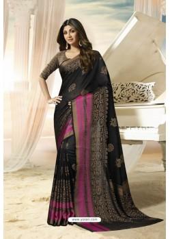 Carbon Party Wear Designer Embroidered Brasso Silk Weaving Sari