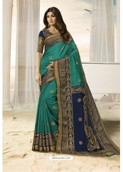 Teal Party Wear Designer Embroidered Brasso Silk Weaving Sari