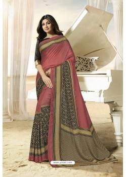 Light Red Party Wear Designer Embroidered Brasso Silk Weaving Sari