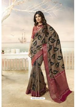 Taupe Party Wear Designer Embroidered Brasso Silk Weaving Sari
