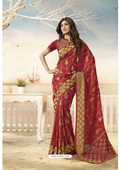 Red Party Wear Designer Embroidered Brasso Silk Weaving Sari