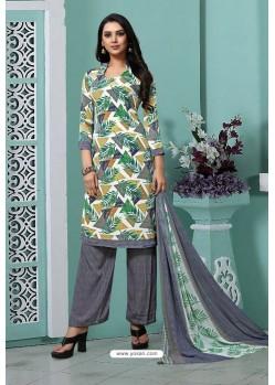 Grey Designer French Crepe Straight Salwar Suit