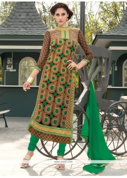 Urbane Georgette Lace Work Churidar Salwar Kameez