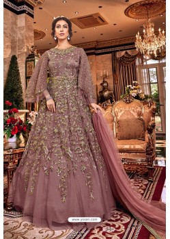 Old Rose Latest Heavy Embroidered Designer Wedding Anarkali Suit