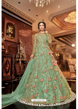 Sea Green Latest Heavy Embroidered Designer Wedding Anarkali Suit