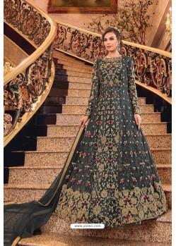 Carbon Latest Heavy Embroidered Designer Wedding Anarkali Suit