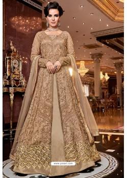 Gold Latest Heavy Embroidered Designer Wedding Anarkali Suit