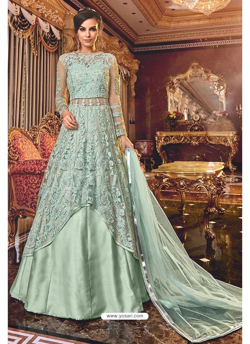 Grayish Green Latest Heavy Embroidered Designer Wedding Anarkali Suit