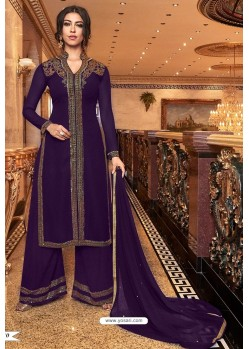 Purple Latest Heavy Embroidered Designer Wedding Palazzo Salwar Suit