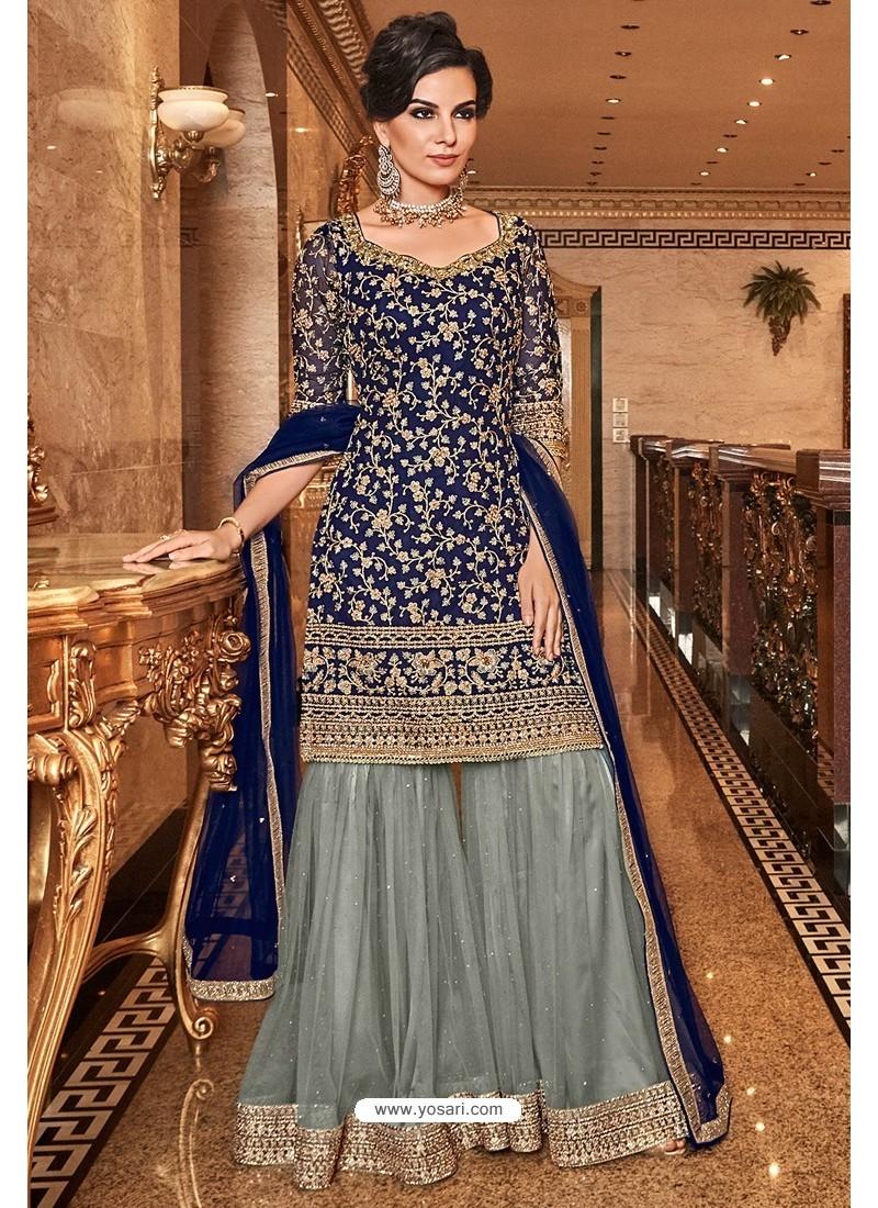 Dark Blue Latest Heavy Embroidered Designer Wedding Palazzo Salwar Suit