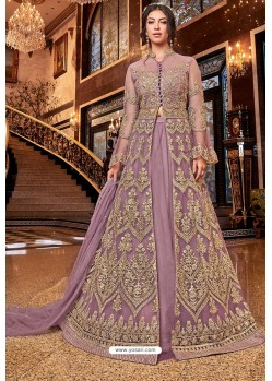 Mauve Latest Heavy Embroidered Designer Wedding Anarkali Suit