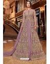 Mauve Latest Heavy Embroidered Designer Wedding Anarkali Suit