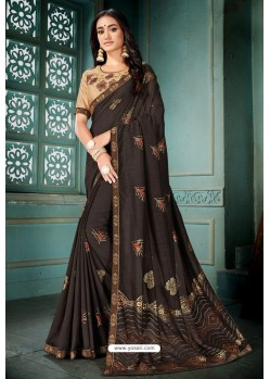 Coffee Party Wear Designer Embroidered Vivhitra Silk Sari