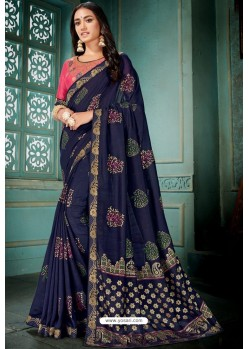 Navy Blue Party Wear Designer Embroidered Vivhitra Silk Sari