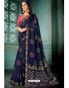 Navy Blue Party Wear Designer Embroidered Vivhitra Silk Sari