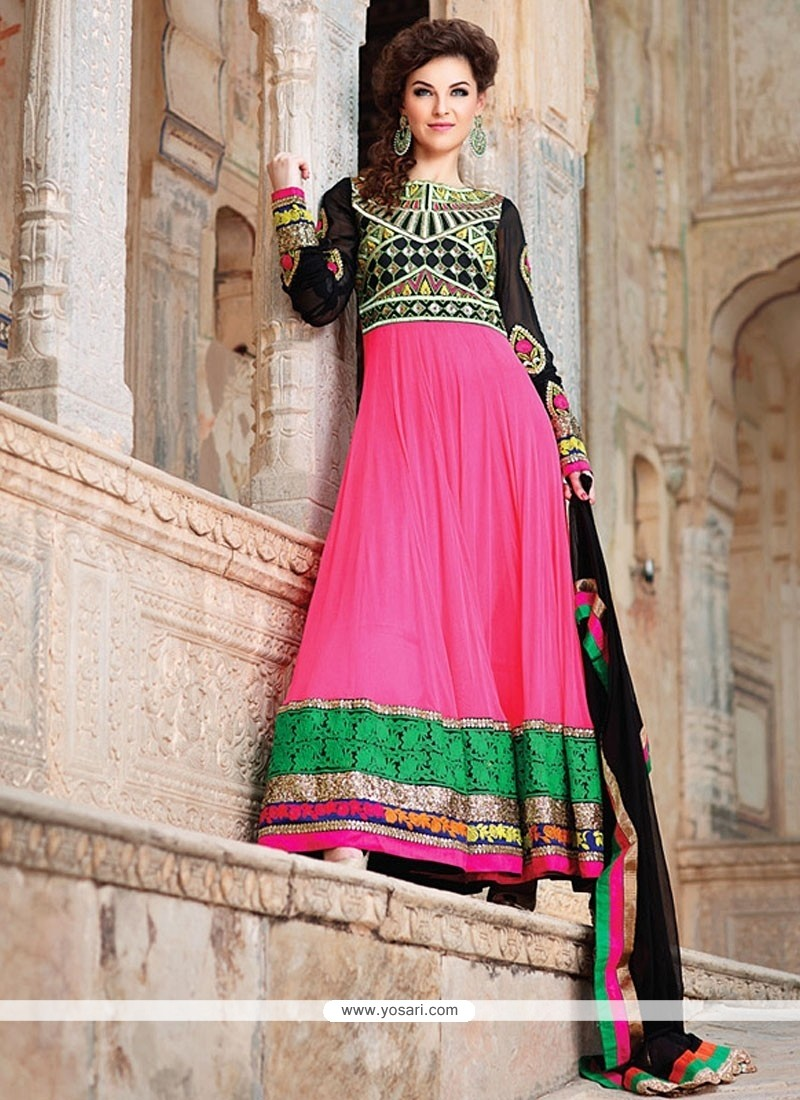 Hot Pink And Black Georgette Anarkali Suits