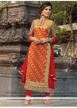 Observable Embroidered Work Georgette Beige Churidar Salwar Suit