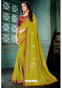 Parrot Green Party Wear Designer Embroidered Vivhitra Silk Sari