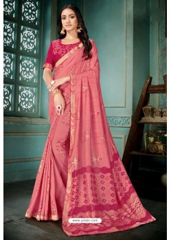 Light Pink Party Wear Designer Embroidered Vivhitra Silk Sari