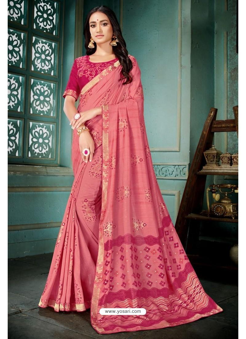 Light Pink Party Wear Designer Embroidered Vivhitra Silk Sari