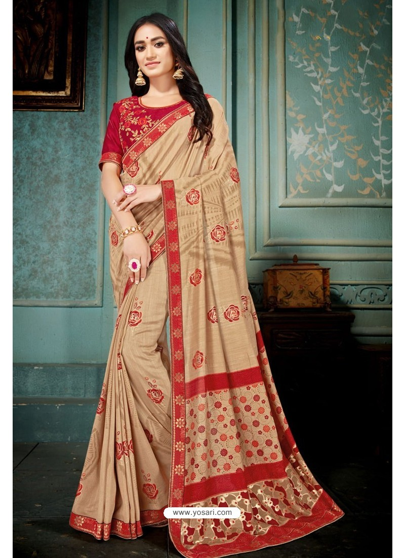Beige Party Wear Designer Embroidered Vivhitra Silk Sari