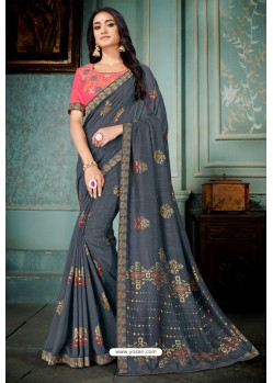 Pigeon Party Wear Designer Embroidered Vivhitra Silk Sari