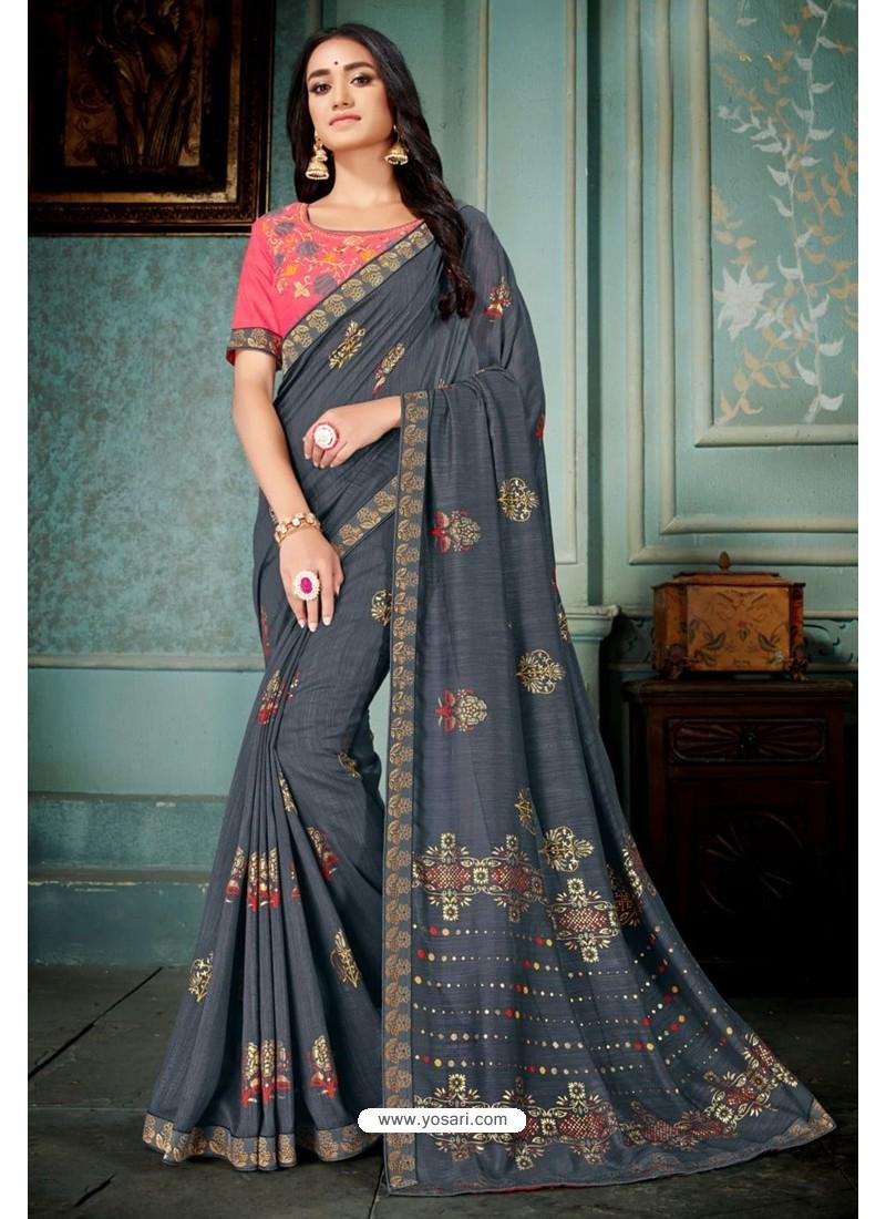 Pigeon Party Wear Designer Embroidered Vivhitra Silk Sari